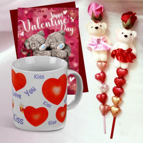 Cute Teddy with Heart Shape Handmade Chocolates in a stick