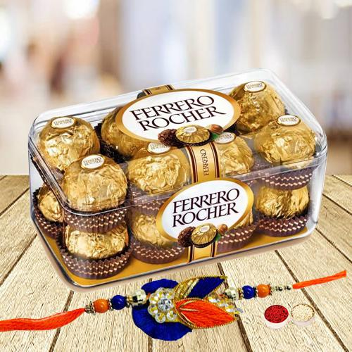16 pcs Ferrero Rocher Chocolate Pack with Rakhi and Roli Tilak Chawal