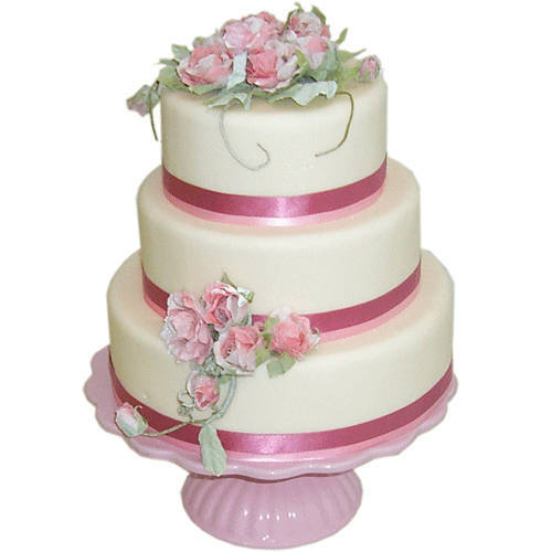 Vibrant Three-Tier Wedding Cake