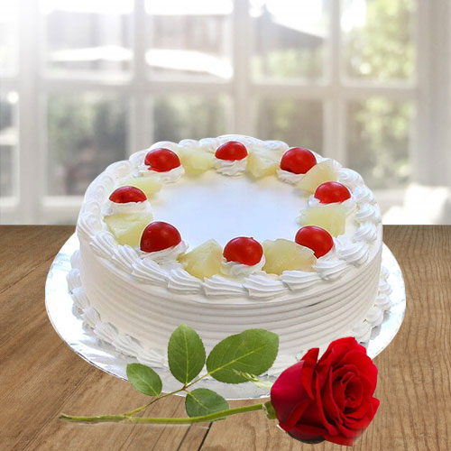 Book Vanilla Cake N Red Rose Online