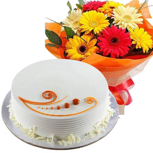Gift Mixed Flowers Bunch with Vanilla Cake Online