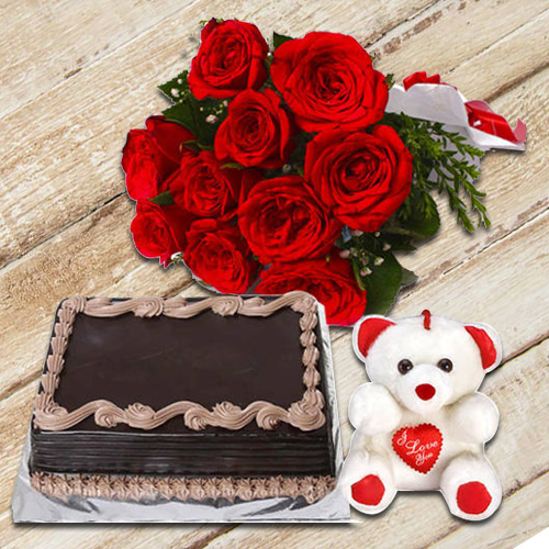 Deliver Red Roses Bunch with Chocolate Cake n Teddy Online