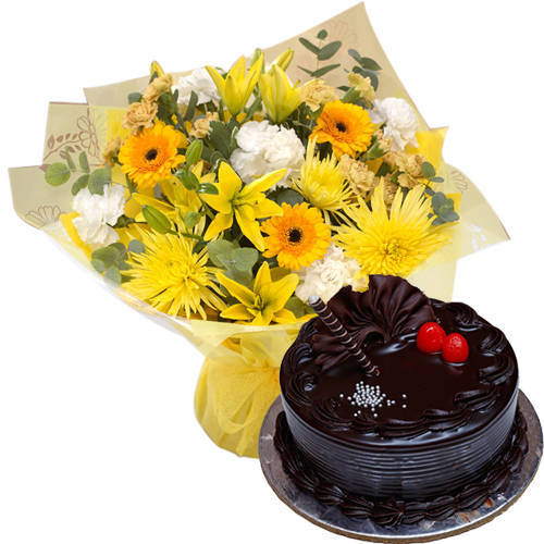 Gift Online Mixed Flowers Bunch with Chocolate Truffle Cake