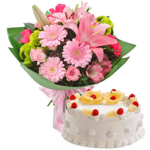 Online Combo of Pineapple Cake with Mixed Flowers Bunch