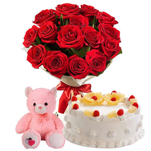 Deliver Online Pineapple Cake Cake with Teddy N Red Roses Bunch