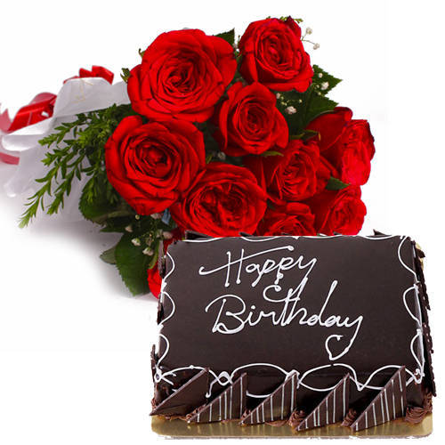 Pristine Bouquet of Red Roses with Eggless Chocos Cake
