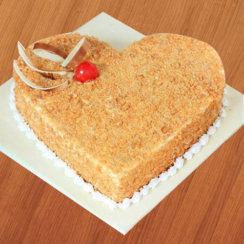 Deliver Heart-Shape Butter Scotch Cake Online