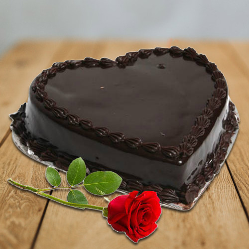 Shop Online Chocolate Cake in Heart Shape with Single Rose