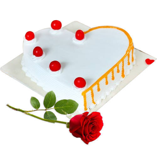 Book Vanilla Cake in Heart-Shape with Single Rose
