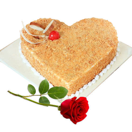 Order Online Combo of Heart Shape Butter Scotch Cake with Single Rose