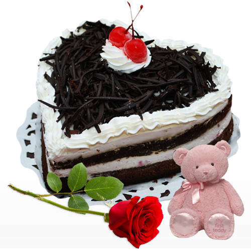 Order Black Forest Cake in Heart Shape with Teddy N Single Rose Online
