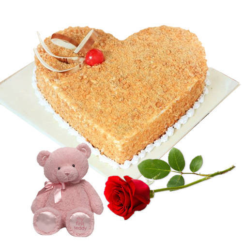 Book Butter Scotch Cake in Heart-Shape with Teddy N Single Rose
