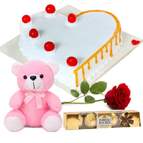Send Vanilla Cake in Heart Shape with Teddy, Red Rose N Ferrero Rocher Online