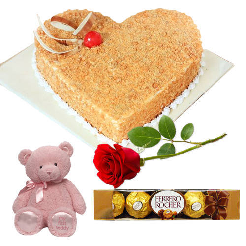 Online Gift Heart-Shape Butter Scotch Cake with Red Rose, Ferrero Rocher N Teddy