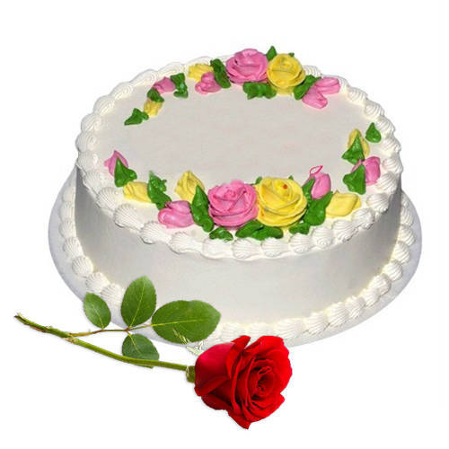 Send Online Eggless Vanilla Cake with Single Rose