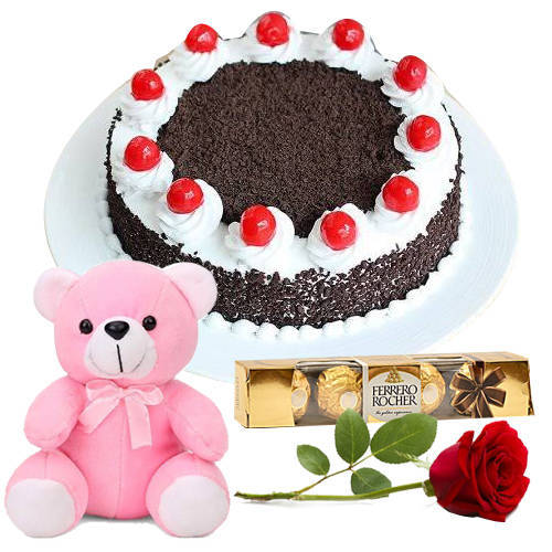 Online Order Eggless Black Forest Cake with Red Rose, Teddy N Ferrero Rocher