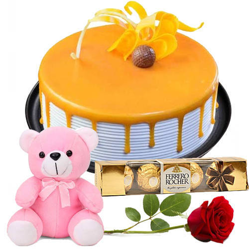Gift Eggless Butter Scotch Cake Online with Single Rose, Ferrero Rocher N Teddy