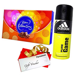 Beautiful Gift Pack of Cadbury Celebration, Adidas Deo and Pantaloons Voucher