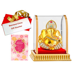 Divine Gift of Vighnesh Idol with Anniversary Card & Mainland China Voucher