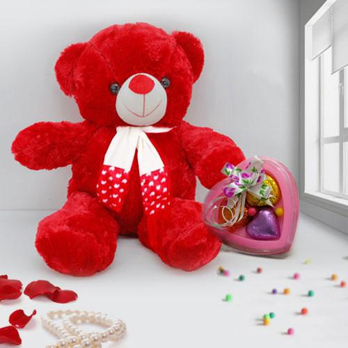 Valentines Day Adorable Red Teddy with heart Shape Handmade Chocolates