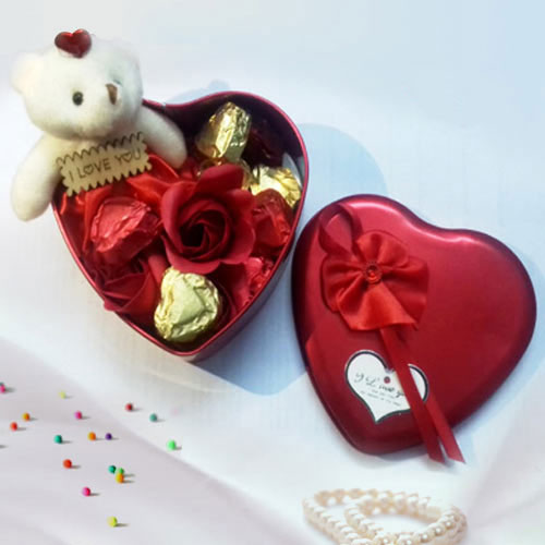 Classic V-Day Gift of Roses with Teddy and Assorted Handmade Chocolates