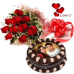 Rose Day Special Gift of Red Roses Bouquet with Chocolate Photo Cake