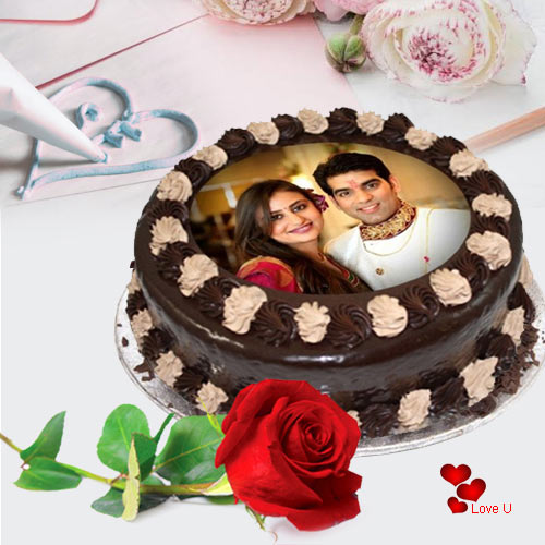 Romantic Gift of Chocolate Photo Cake with Single Red Rose for Rose Day