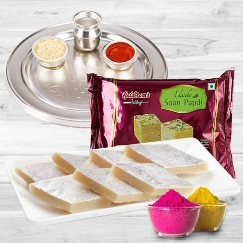 Enjoyable Holi Gift of Kaju Katli, Soan Papdi, Puja Thali N Gulal