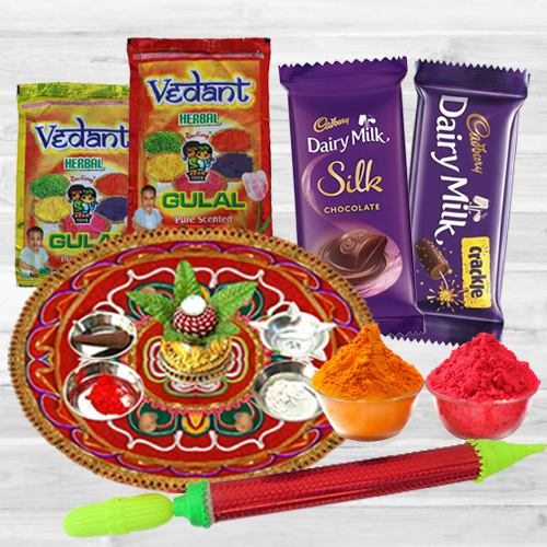 Assorted Holi Gift of Dairy Milk Chocolate with Puja Thali, Herbal Gulal N Pichkari