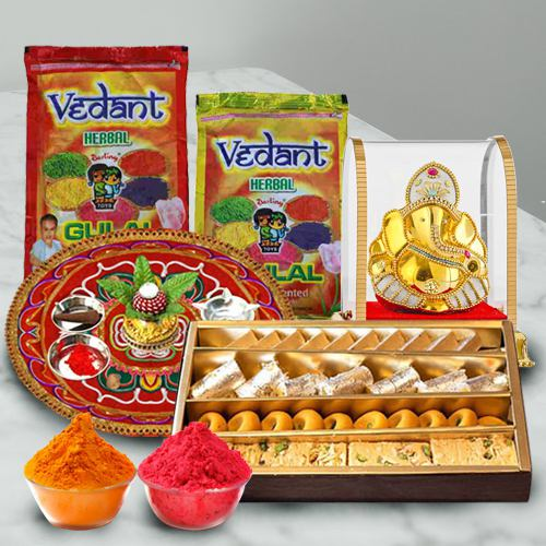 Pure Herbal Holi Colors with Assorted Sweets, Ganesh Mandap N Puja Thali