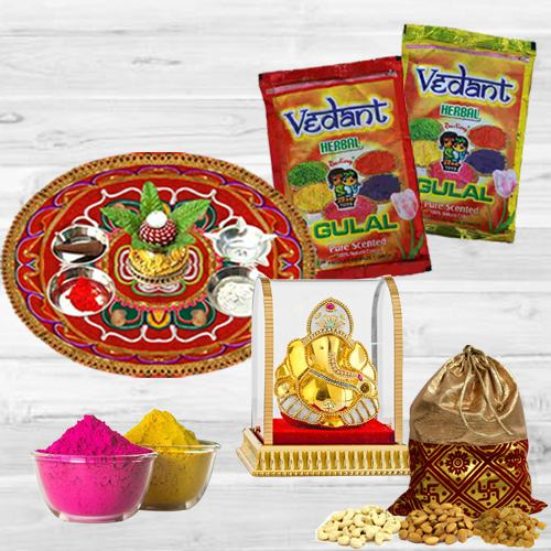 Colorful Holi Combo of Dry Fruit Potli, Herbal Gulal, Ganesh Mandap N Puja Thali
