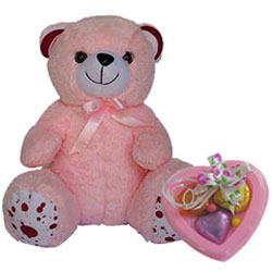 Lovable Teddy with Heart Shape Handmade Chocolate