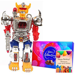Marvelous Gift of Battery Operated Robot with Cadbury Celebration  N  Birthday Card