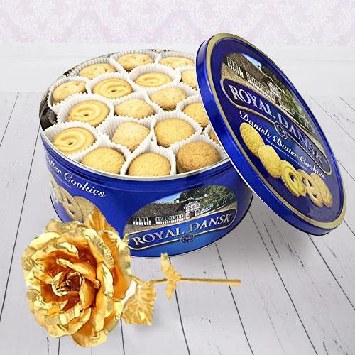 Crunchy Christmas Cookies and Gold Rose Gift Set