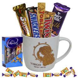 Stunning Collection of Chocolates with Virgo Sun Sign Printed Mug