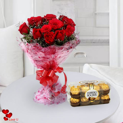 Send Online Red Roses Bouquet with Ferrero Rocher Chocolates