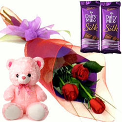 Fancy Small Teddy, Roses and Dairy Milk Silk Chocolate Bars