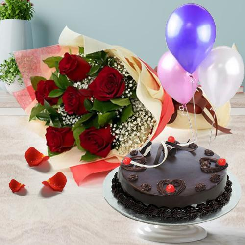 Buy Truffle Cake with Red Roses Bunch N Balloons Online