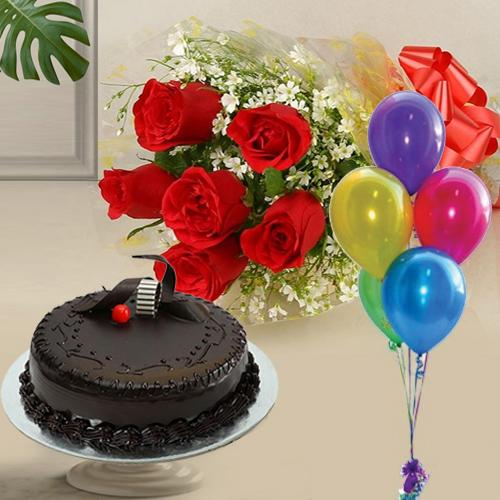 Gratifying 1 Kg Chocolate Cake with 6 Red Roses and 5 Balloons