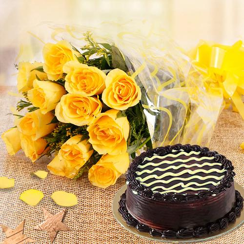Yellow Roses with Chocolate Cake