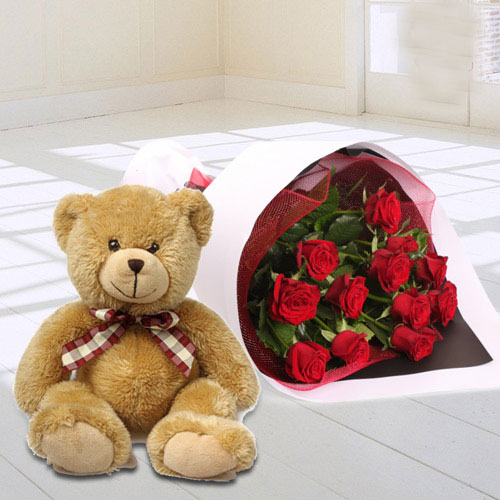 Red Rose Bouquet with Teddy Bear