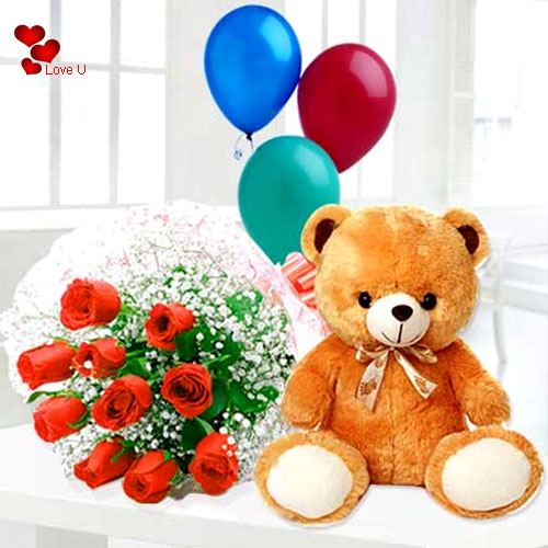 Buy Red Roses, Teddy N Ballons for Hug Day
