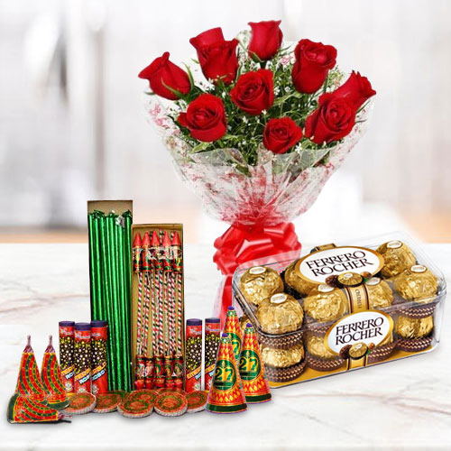 Enchanting Hamper of 16 Pcs Ferrero Rocher, 10 Pcs Red Rose Bunch and Crackers