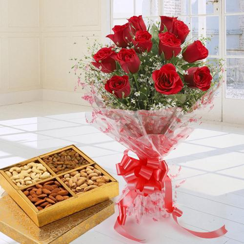 Graceful Treat of Dry Fruits and 12 Red Roses Bouquet