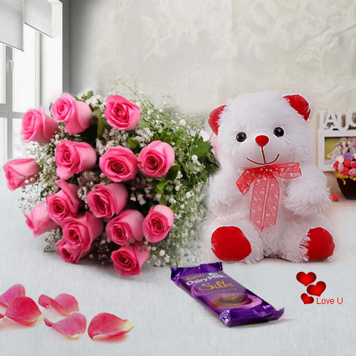 Send Teddy Day Surprise of Teddy, Chocolates N Pink Roses Online