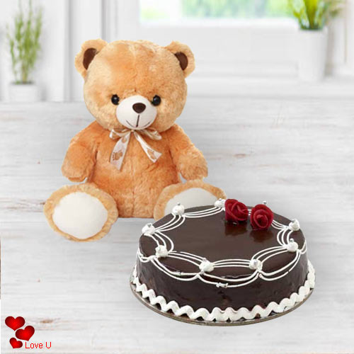 Send Online Teddy N Chocolate Cake for V-Day