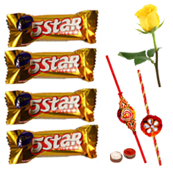 Cadburys 5 Star with 2 Rakhi with One Yellow Rose