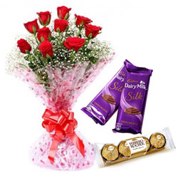 Sweetness of Trio Dairy Milk Silk, Ferrero Roacher, and Red Rose Bouquet