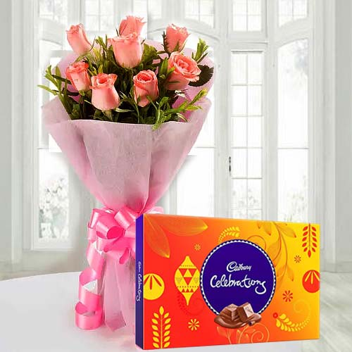Romantic Combo of Pink Roses Bouquet and Cadbury Celebration