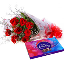 Impressive Red Roses Bouquet with Cadbury Celebration Combo